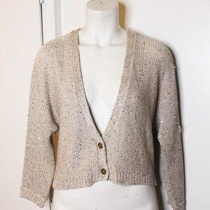 Splendid Beige Gold Sequins Cardigan Sweater M
